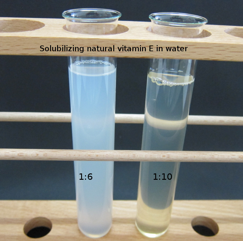 Solubilising Vitamin E in water