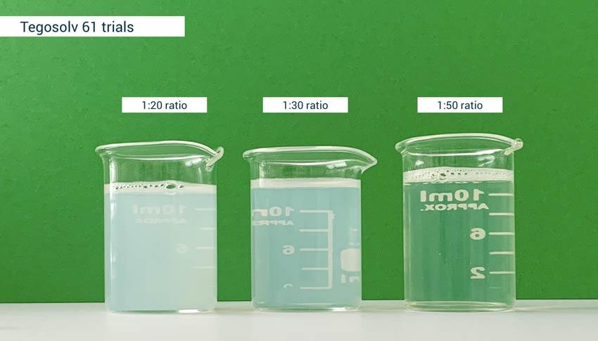 Testing Tegosolv61 natural solubiliser