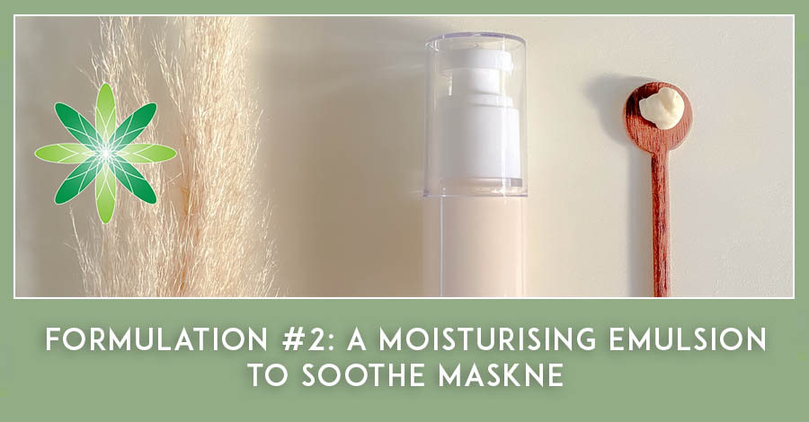 Moisturiser emulsion to help soothe maskne
